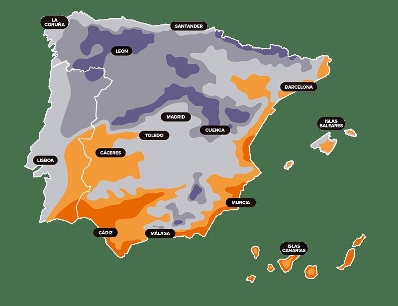 mapa calor espana - Calculadora